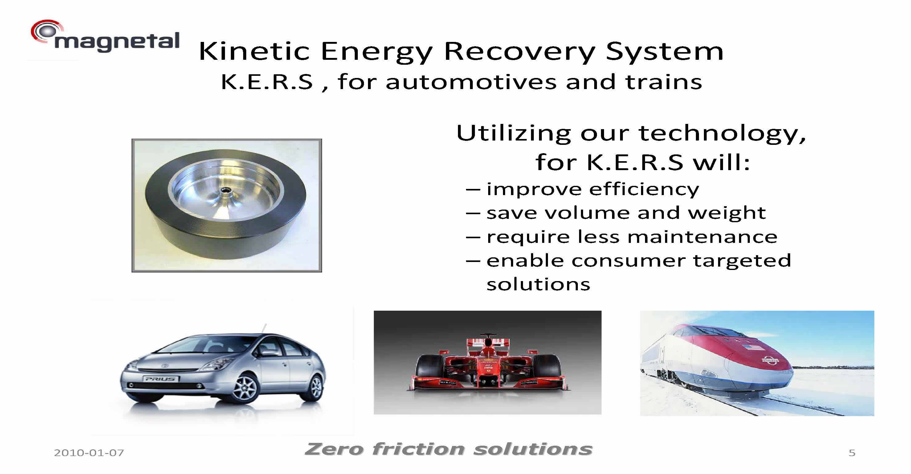 Kinetic Energy Storage System KERS Benefits of using Magnetal Bearing Technology